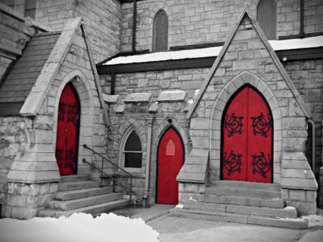 behind red doors